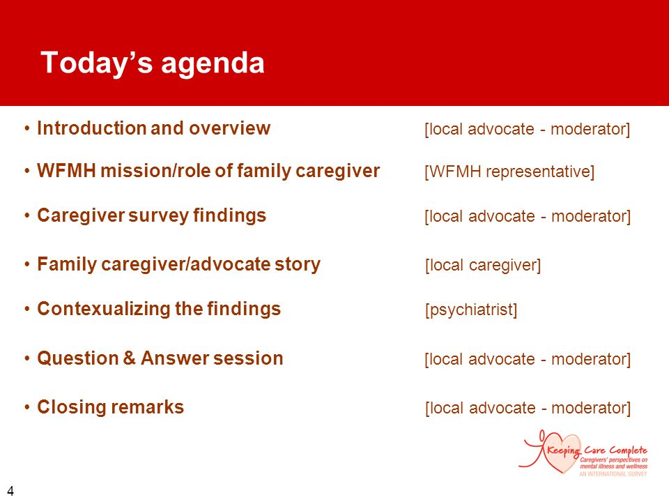 Today's agenda Introduction and overview [local advocate - moderator]